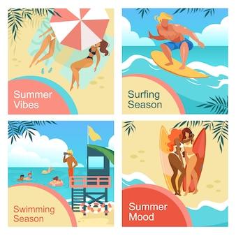 Ambiance estivale, vibrations, surf, ensemble de bannières carrées de la saison de baignade