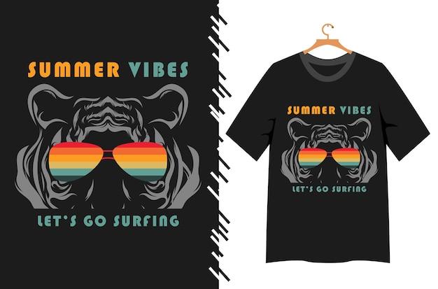 Ambiance estivale avec un visage de tigre pour la conception de t-shirts