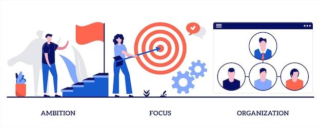 Ambition, concentration, concept d'organisation. ensemble de détermination et de développement commercial.