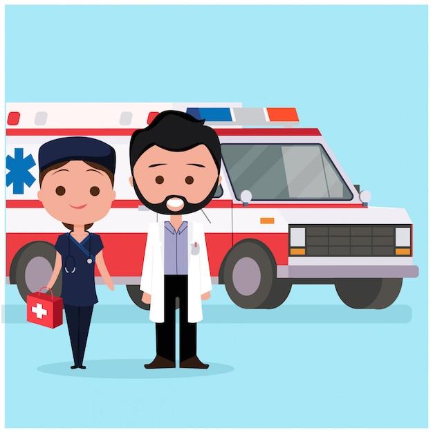 Ambulance avec des caractères de docteur