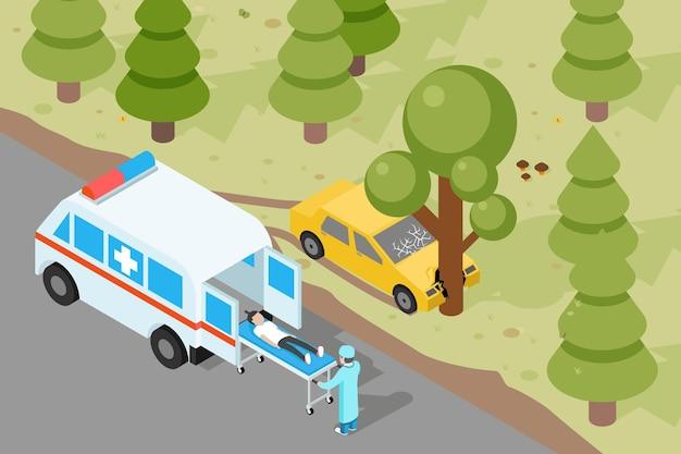 Ambulance. évacuation d'urgence médicale en cas d'accident.