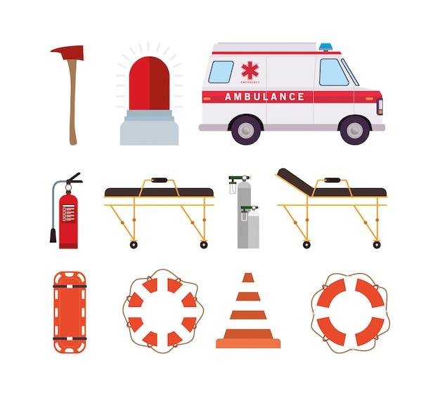 Ambulance et sauveteur icon set design