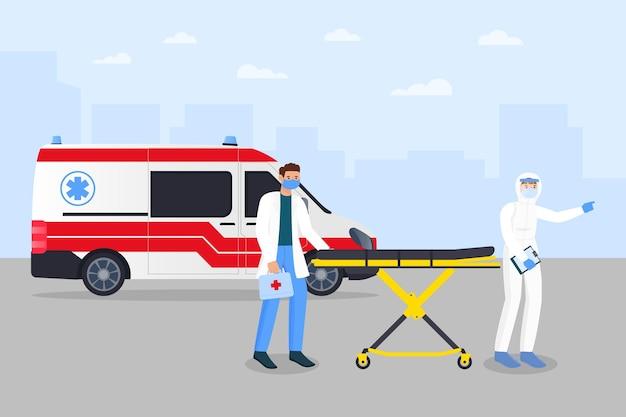 Ambulance d'urgence avec concept de coronavirus