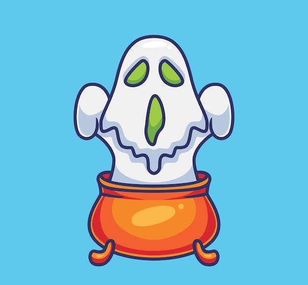 Âme fantôme mignon animal de dessin animé isolé illustration d'halloween style plat adapté