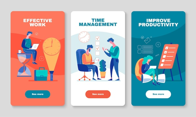 Amélioration de la productivité du travail illustration de 3 bannières d'écran mobile vertical