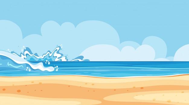 Aménagement paysager de bord de mer avec de grandes vagues