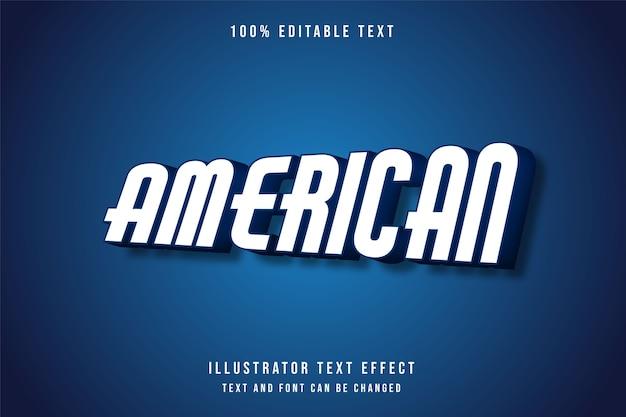 Américain, effet de texte modifiable 3d style blanc dégradé bleu