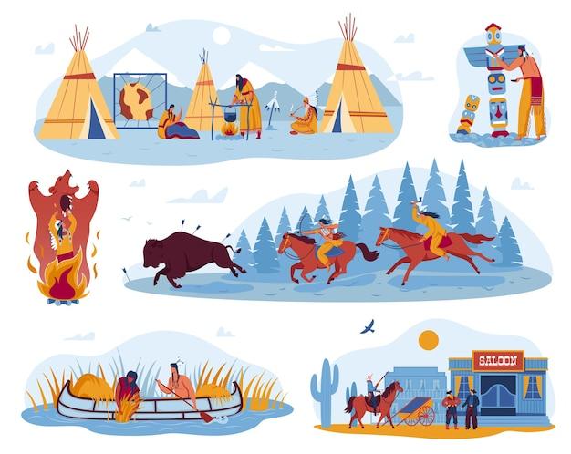 Américain, vie sauvage indienne indigène, culture en occident, ensemble d'illustrations.