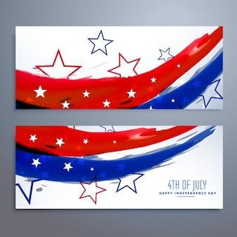 American bannières jour d'indépendance définies