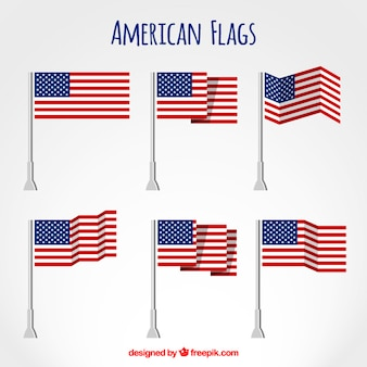 American flags set plat
