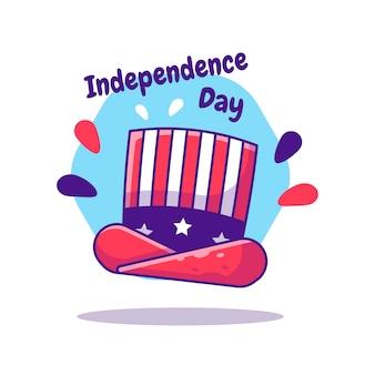 American hat independence day du 4 juillet dessin animé. fête de l'indépendance des états-unis