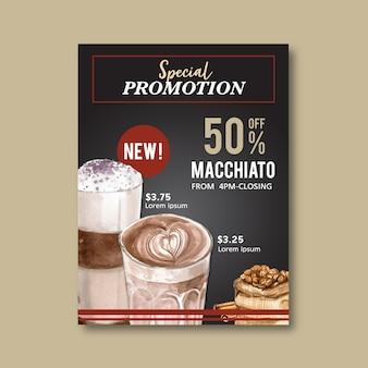 Americano, remise d'affiche de café cappuccino, modèle moderne, illustration aquarelle