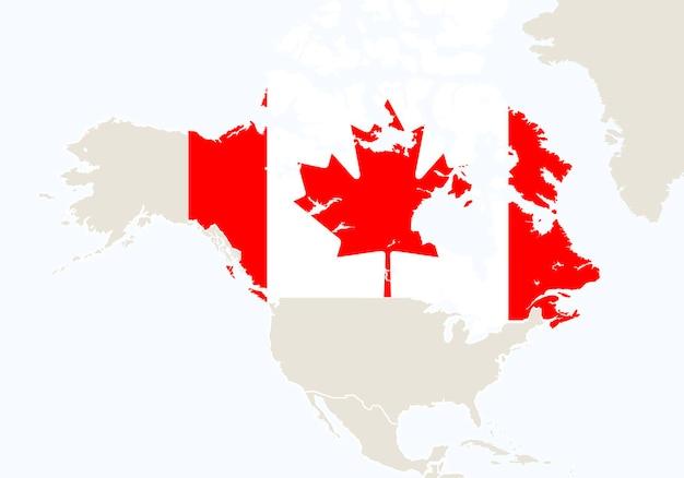 Amérique du nord avec carte du canada en surbrillance. illustration vectorielle.