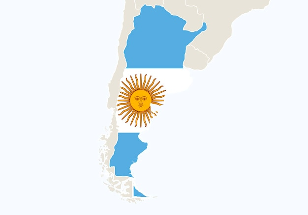 Amérique du sud avec carte de l'argentine en surbrillance. illustration vectorielle.