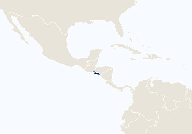 Amérique du sud avec carte du salvador en surbrillance. illustration vectorielle.