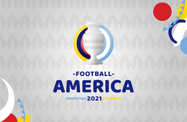 Amérique du sud football 2021 argentine colombie illustration. aucun logo officiel du tournoi sur fond de motif