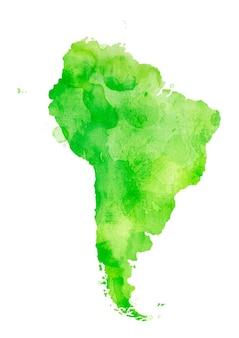Amérique du sud isolée colorée à l'aquarelle