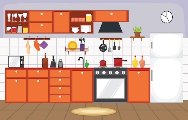 Ameublement d'intérieur cuisine couverts vaisselle cuisine plat
