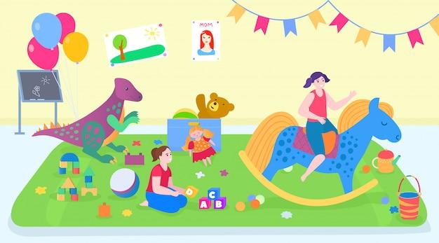 Ami des enfants jouer à des jouets à la maison, personnages de dessin animé fille active jouant ensemble, fond enfance heureuse