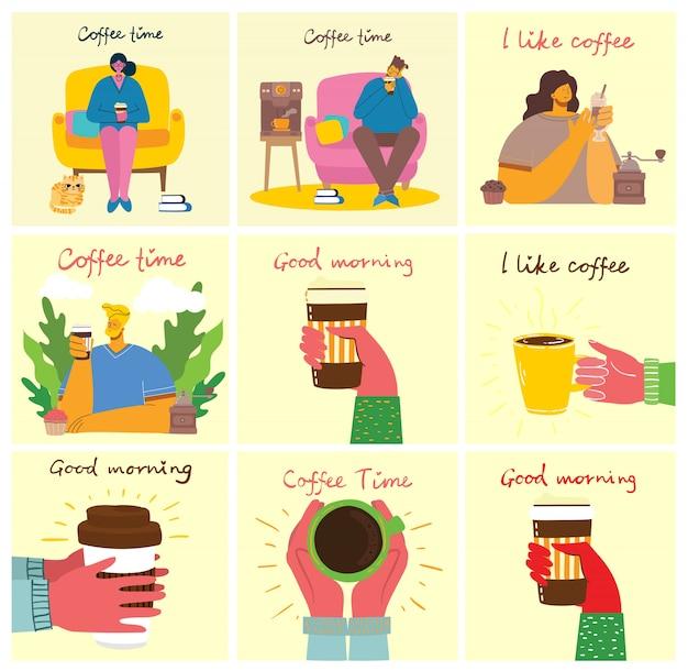 Ami souriant, boire du café et parler.