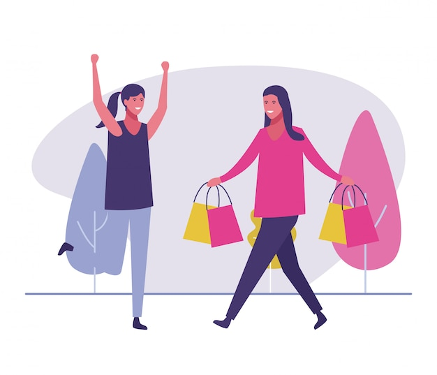 Amies, shopping, dehors