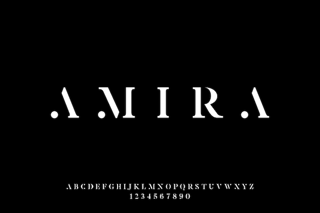Amira, la police de vecteur d'affichage alphabet de luxe et élégant