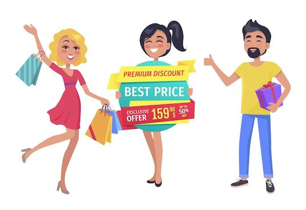 Amis accro du shopping avec promotion dans les mains bannière