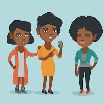 Amis afro-américains en regardant téléphone mobile.