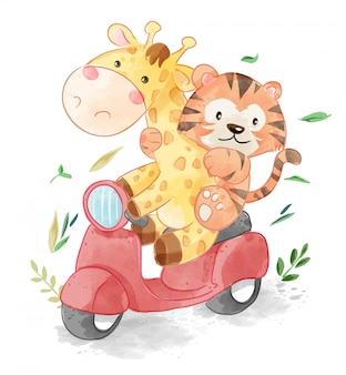 Amis animaux mignons équitation scooter illustration