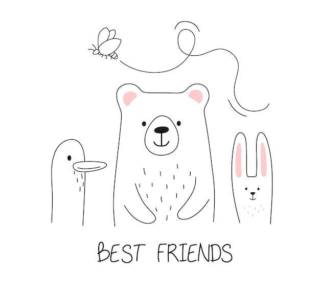 Amis des animaux avec mot meilleurs amis dans la ligne de style doodle
