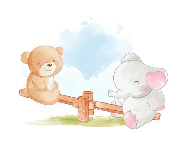 Amis animaux sauvages de dessin animé mignon jouant l'illustration de la planche à bascule