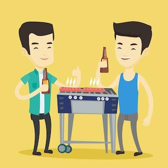 Amis asiatiques s'amusant à la soirée barbecue.