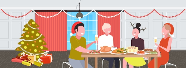 Amis assis à table en train de dîner de noël joyeux noël vacances d'hiver célébration concept salon moderne intérieur portrait illustration vectorielle horizontale