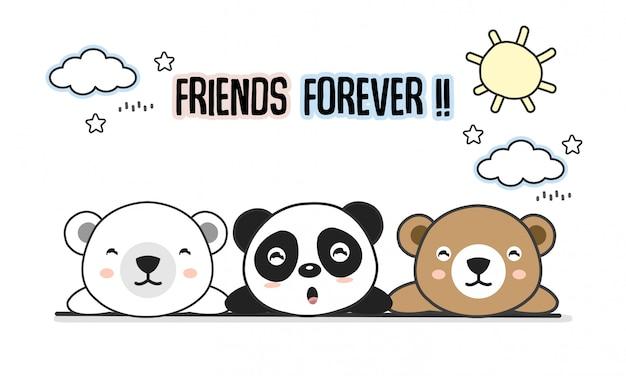 Amis carte de vœux pour toujours avec de petits animaux. ours mignon dessin animé illustration vectorielle.
