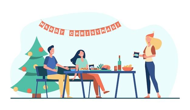 Amis célébrant noël ensemble. arbre, dîner, table, décoration. illustration de bande dessinée