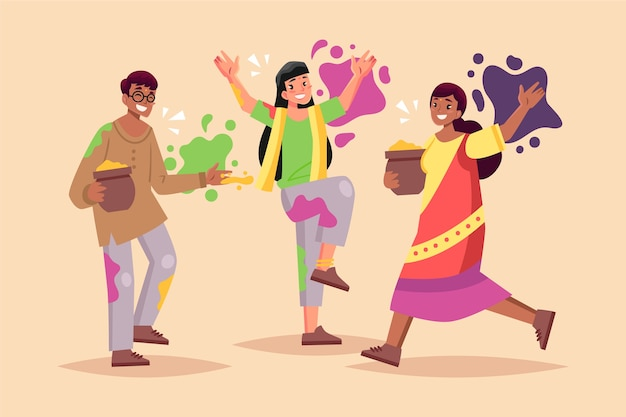 Amis, célébrer, holi, festival