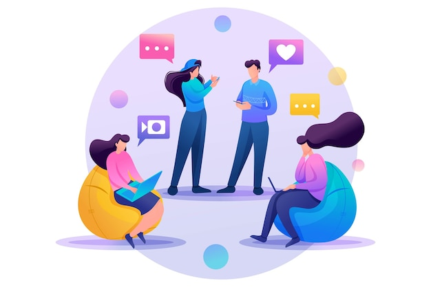Les amis correspondent en ligne, discutent, partagent des nouvelles et des impressions, de l'amitié.