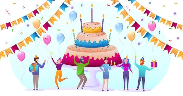 Amis de dessin animé célébrant l'anniversaire avec des ballons et des cadeaux