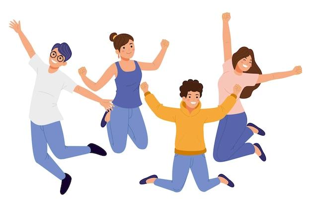 Amis dessinés à la main sautant ensemble