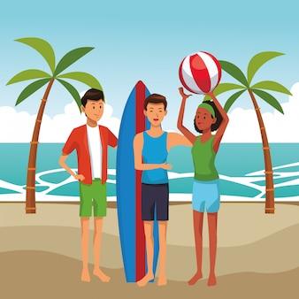 Amis avec des dessins animés de table de surf
