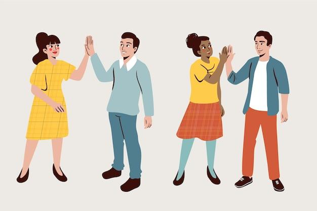 Amis donnant haut cinq