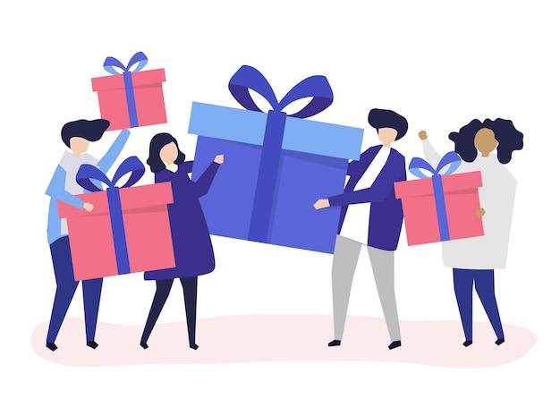 Amis échangeant des boîtes-cadeaux les uns avec les autres