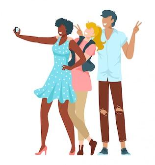 Amis ensemble, jeunes prenant selfie au téléphone pour instagram ou illustration de médias sociaux isolé sur blanc.