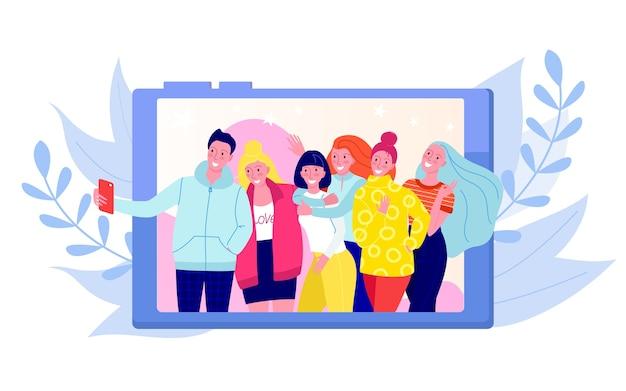 Amis faisant photo, selfie foto coup de groupe de jeunes gens heureux