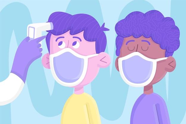 Amis faisant vérifier la température de leur corps