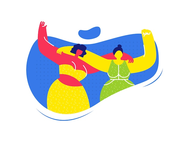 Amis femmes, étreindre, plat, illustration