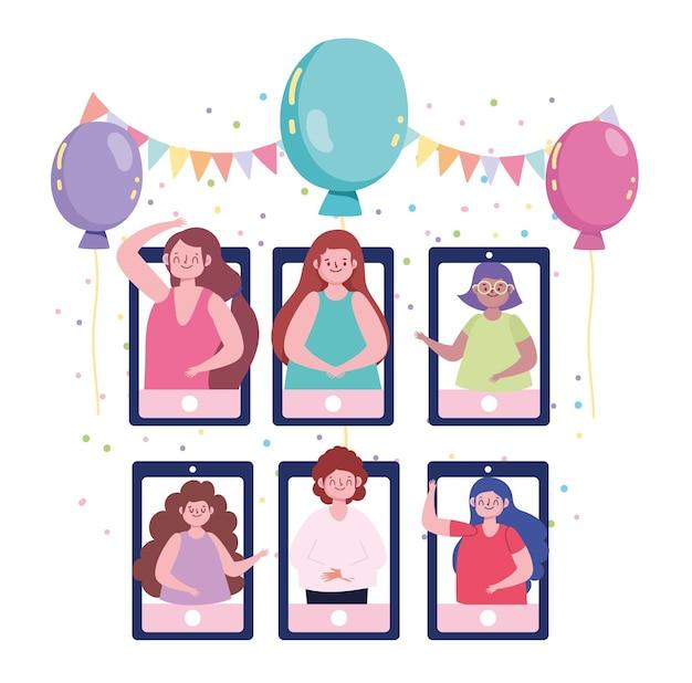 Amis de la fête virtuelle célébrant l'anniversaire en ligne, illustration de l'appel vidéo