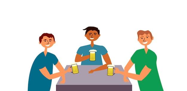 Les amis les gars boivent de la bière les gens se sont réunis à table commune buvant s'amuser fête amicale toast
