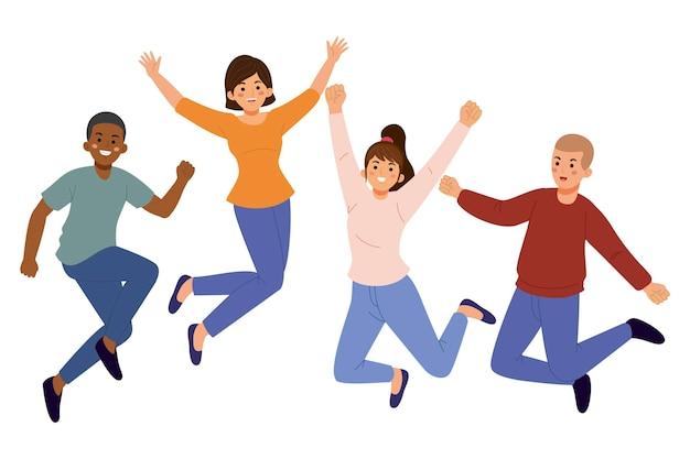 Amis heureux dessinés à la main sautant