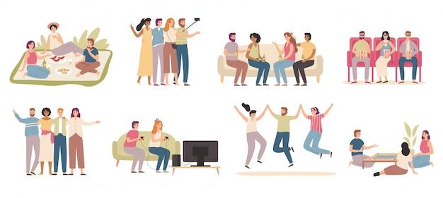 Amis heureux. des gens sympathiques passent du temps ensemble, un ami joue à un jeu et parle avec des amis ensemble d'illustration